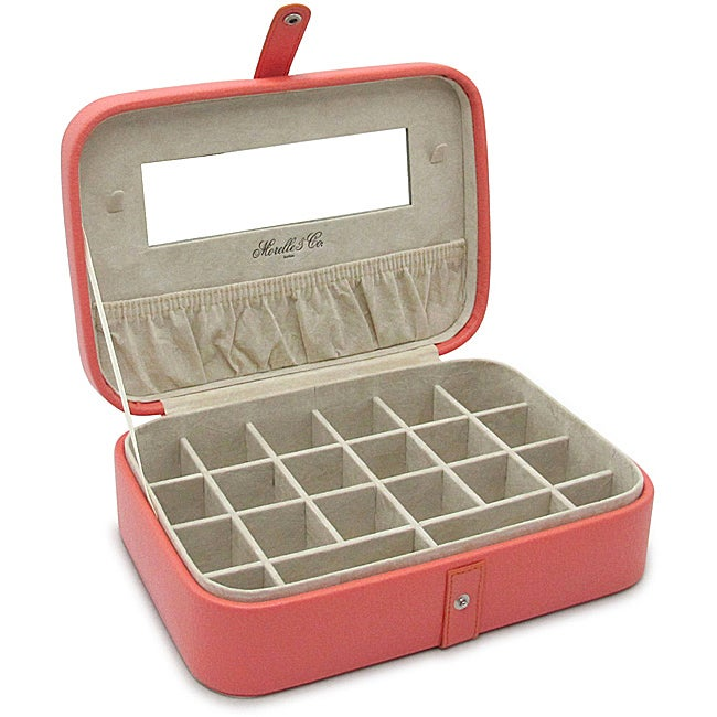 Morelle 'Kimberly' Coral Leather Versatile Jewelry Box