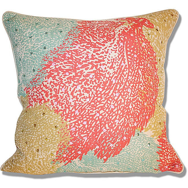 Marlo Lorenz Printed Fan Coral Pillow (18 x 18)