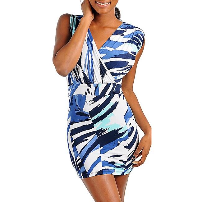 Stanzino Women's Blue Abstract Printed Mini Dress