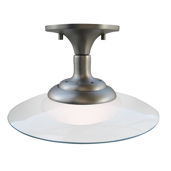 Contemporary 1-light Brushed Nickel Semi Flush Fixture