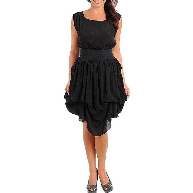 Stanzino Women's Black Gathered Skirt Dress