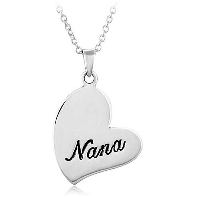 Chuvora Sterling Silver 'Nana' Heart Necklace