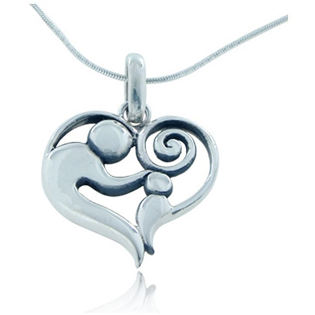 Sterling Silver Heart Shaped Love Pendant Necklace