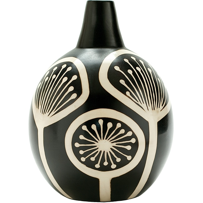 Black and White Medium Fireworks Vase (Peru)