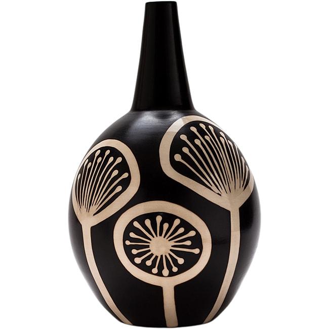 Large Black and White 'Fireworks' Vase (Peru)