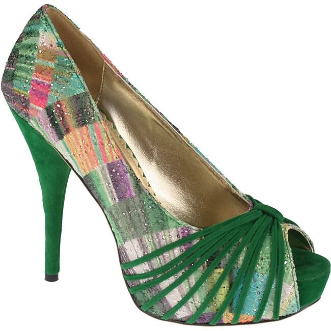 Elegant by Beston Women's 'Belly-1' Green Peep-toe Pumps