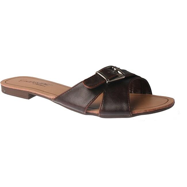 Elegant by Beston Women's 'SANDRI-6' Brown Buckle Flat Sandals