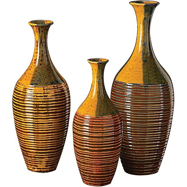 Light Mocha, Blue, Grey and Caramel Brown Ribbed Glaze Ceramic Vases (Set of 3)