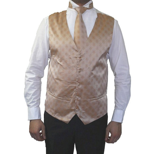 Ferrecci Men's Champagne Four-piece Vest