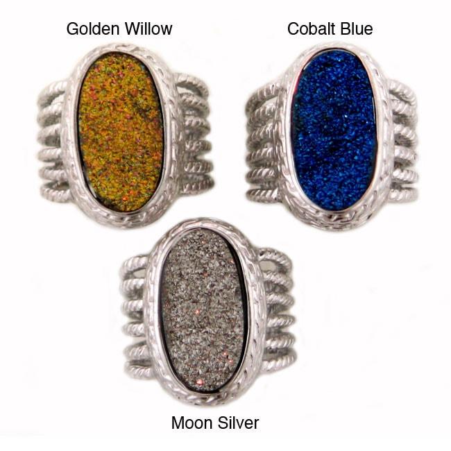 Sterling Silver Druzy Quartz Ring (Size 7)