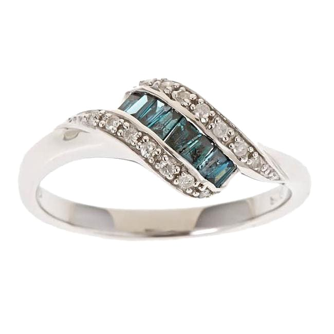 D'Yach Sterling Silver 1/3ct TDW Blue Diamond Ring (GH, I1-I2)