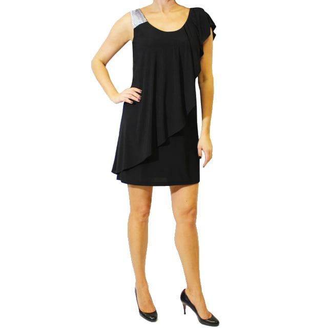 Sophia Christina Women's Black One-sleeve Ruffle Dress