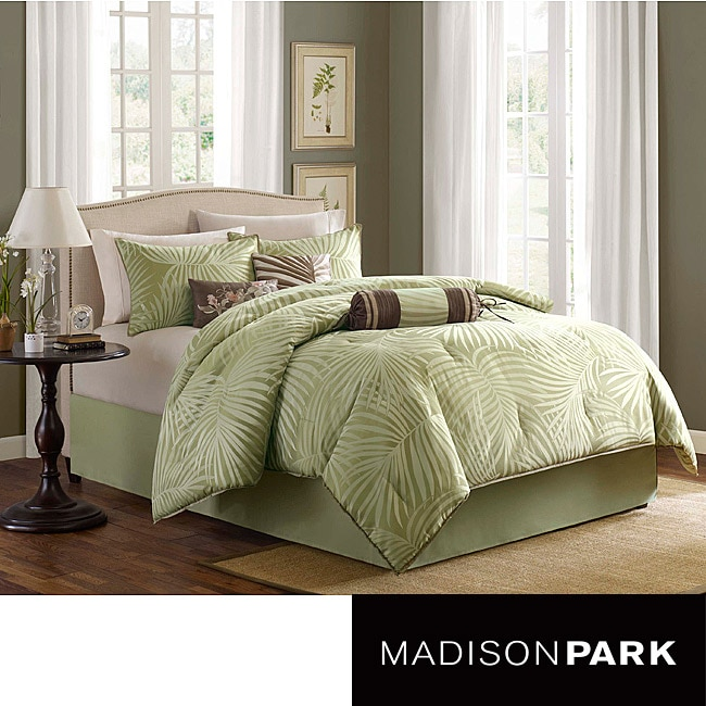 madison park bermuda sage 7 piece king cal king size comforter set