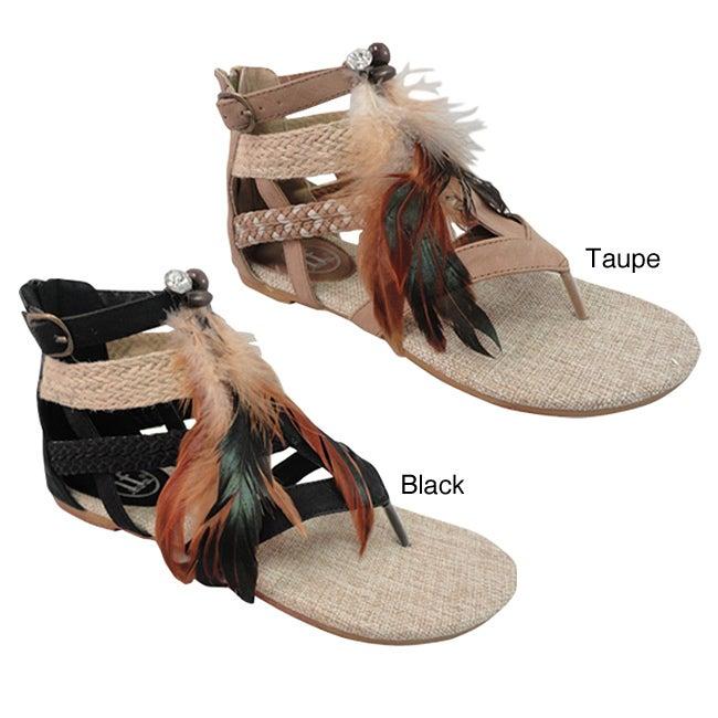 Carrini Women's Feather Gladiator Sandals