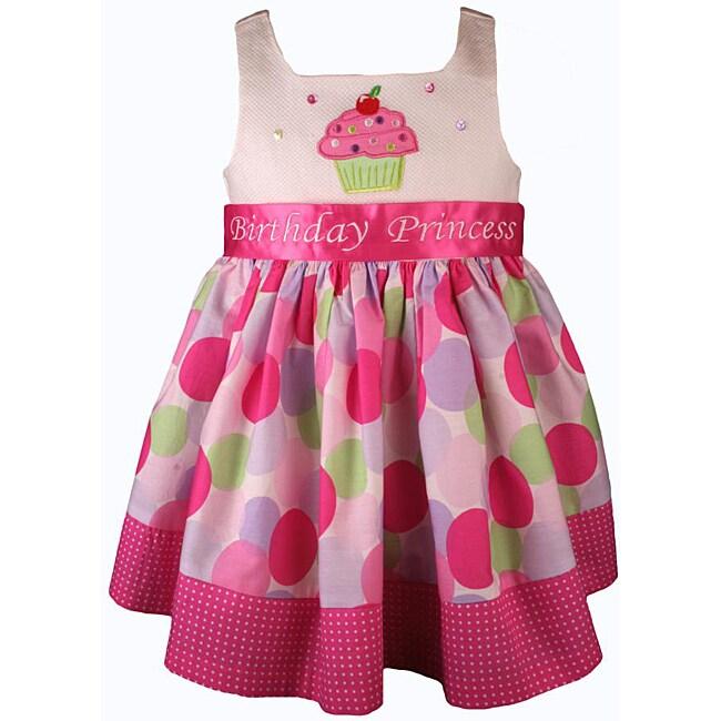 Bonnie Jean Girl's Pink Cupcake Polka Dot Birthday Dress