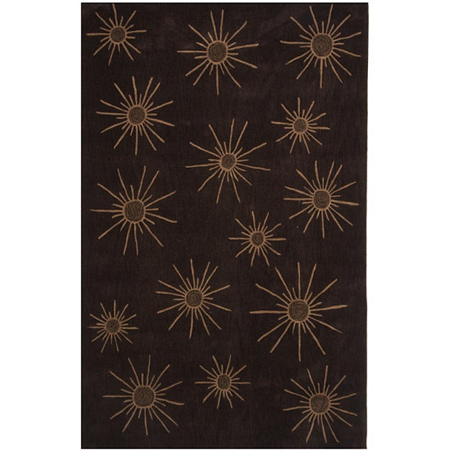 Dynasty Hand-tufted Brown Rug (9'6 x 13'6)