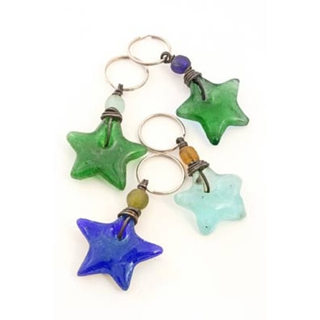 Recycled Glass Star Key Ring (Ghana)