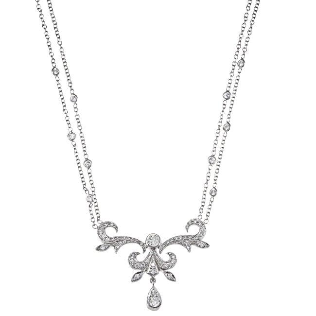 18k White Gold 1ct TDW Art Deco Diamond Estate Necklace (H-I, SI1-SI2)
