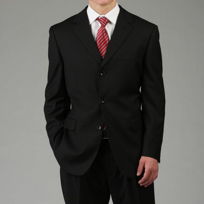 U&I Men's Solid Black 2-piece Suit