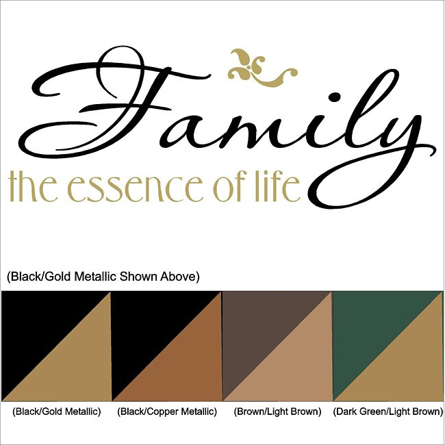"""Vinyl Letter Decor 'Family; The Essence of Life"""" 13-inch Two-Color Vinyl Wall Decal"""