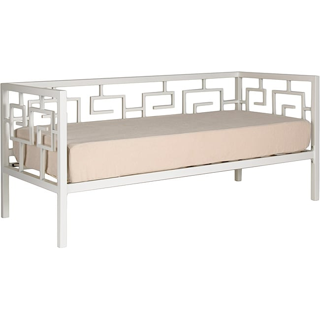 Greek Key Marshmallow White Sofa Depth Daybed and Memory Foam Mattress