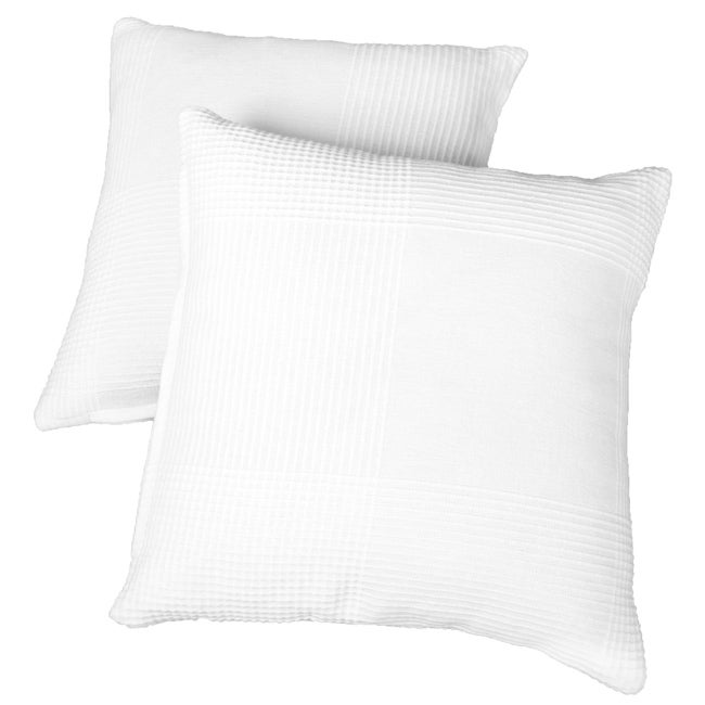 18-inch White Ribbed Cotton Pillow Insert Set
