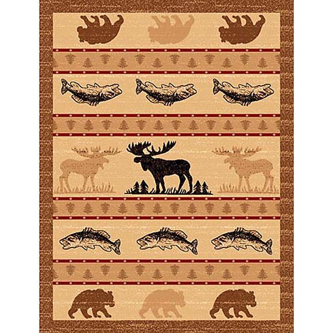Lodge Design 361 Moose Fish Bear Area Rug (5' x 7')