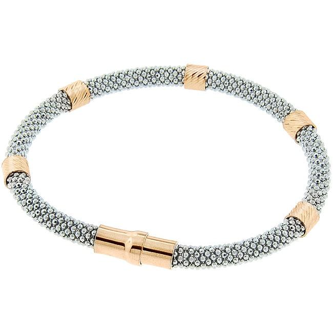 Eternally Haute Rose Gold over Silver Italian Magnet Clasp Bracelet