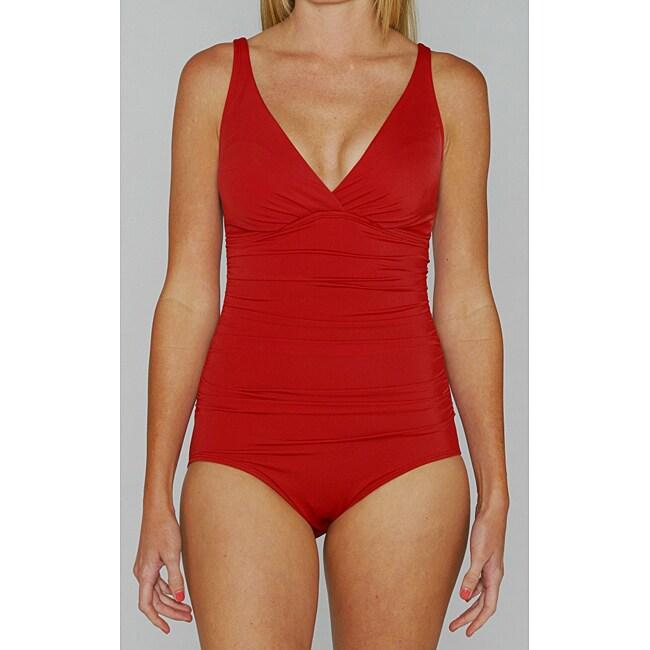 Jantzen Classic Red Shirred 1-piece Swimsuit
