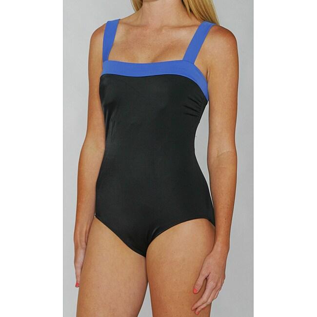 Jantzen Classics Dazzling Blue / Black Contrast 1-piece Swimsuit