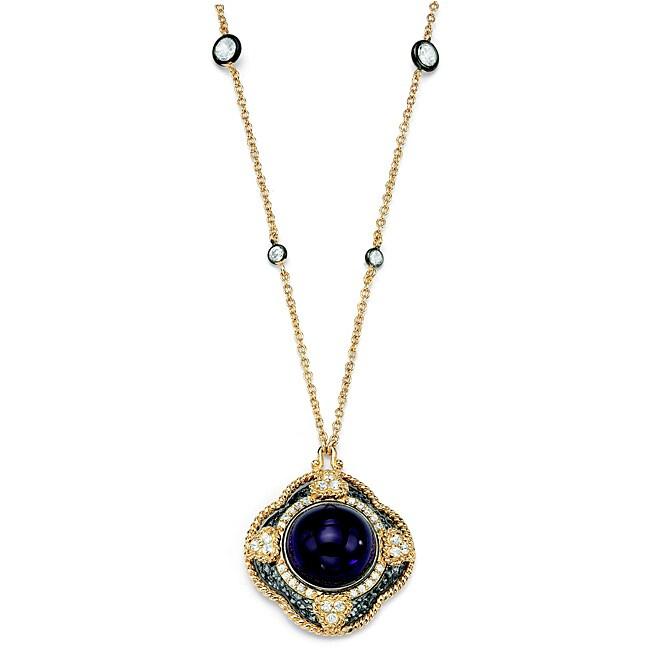 Isabella Collection Women's Black Ruthenium Glass Pendant