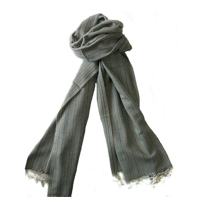 KPA Cashmere Green Cashmere/ Wool Stole Wrap