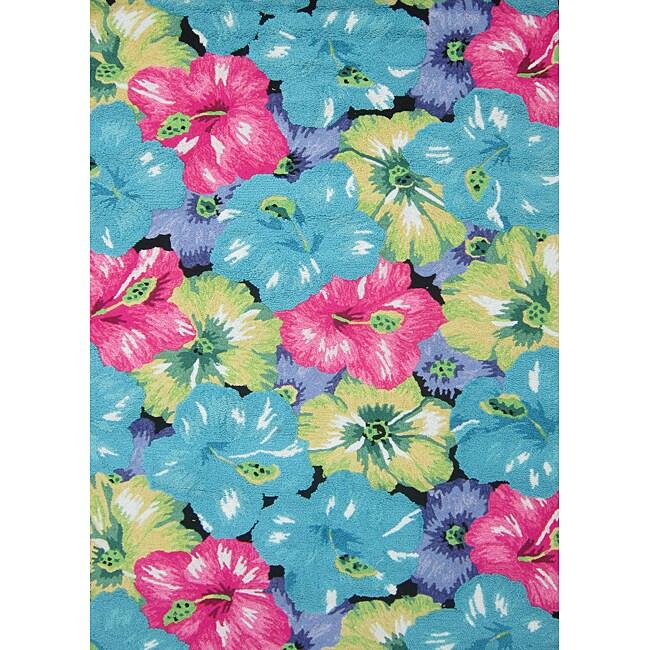 Peony Blue/ Multi Floral Rug (7'6 x 9'6)