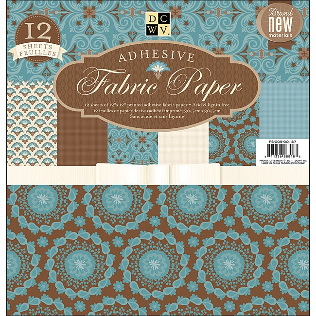 Adhesive Backed Fabric Blue Floral Pattern Paper Stack (Set of 12 Sheets)