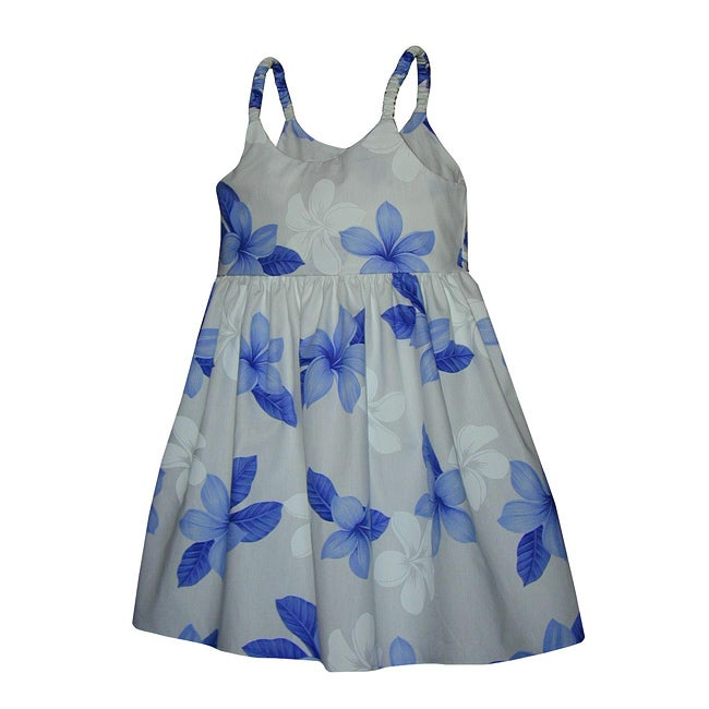 Hibiscus Shadows Girls Blue Bungee Strap Dress