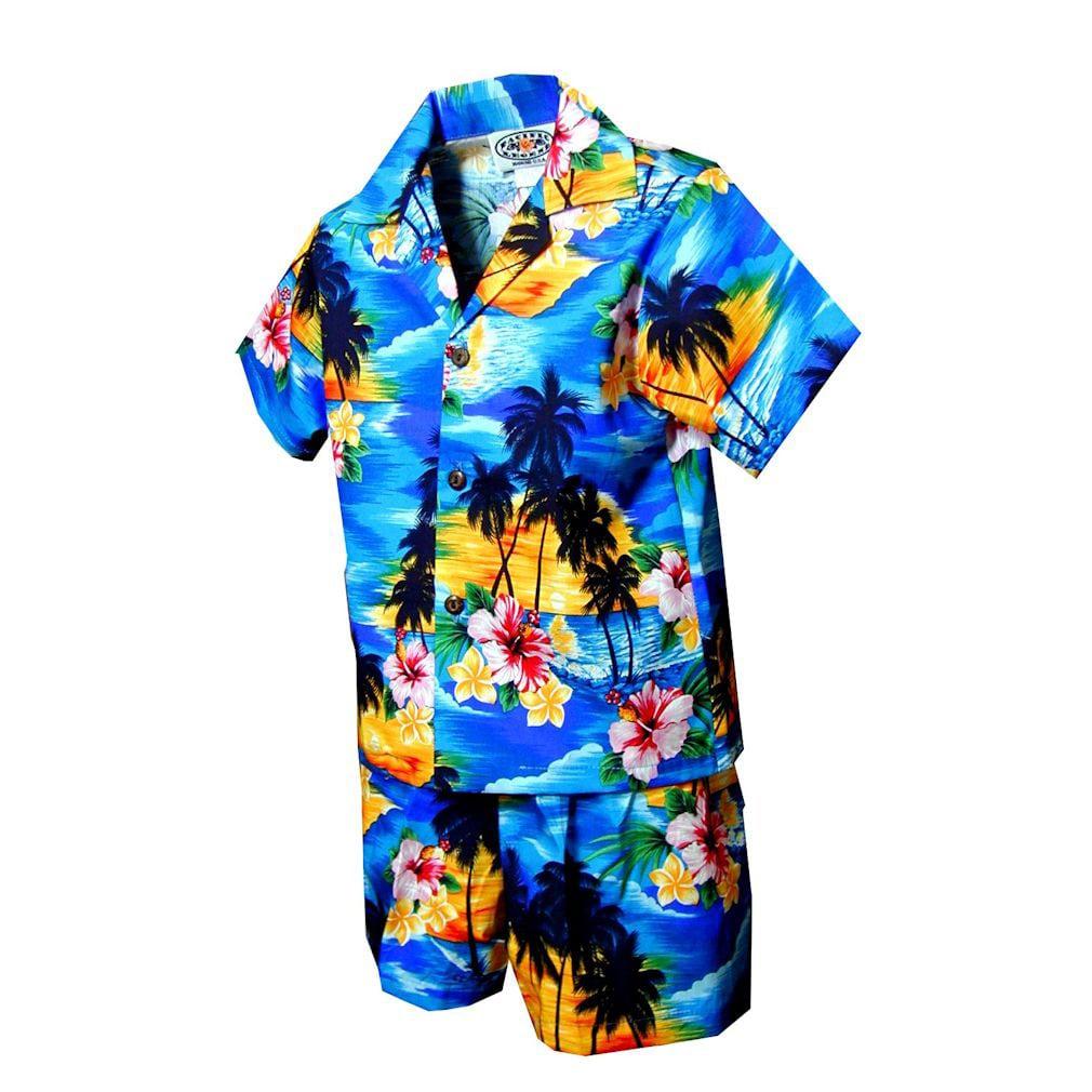Boys' 2-piece Blue Tropical Hawaiian Cabana Set