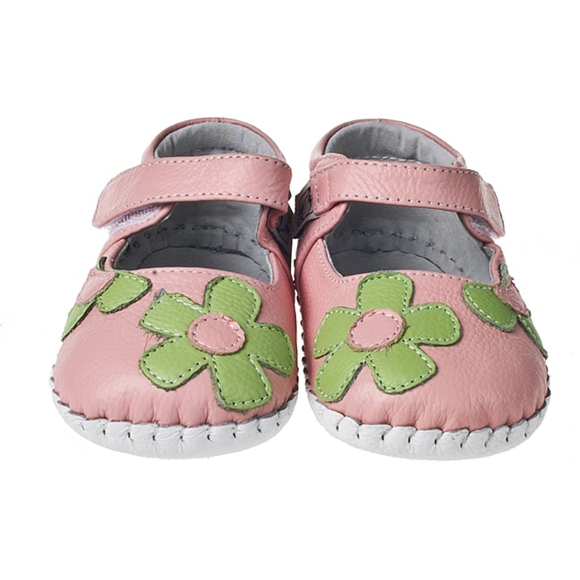 Little Blue Lamb Hand-stitched Pink/ Green Leather Infant/ Toddler Walking Shoes