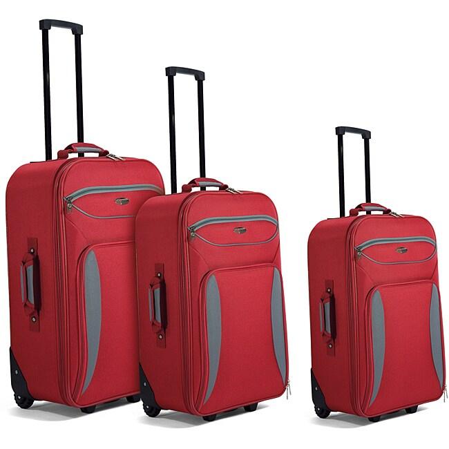 Benzi Red / Grey 3-piece Luggage Set