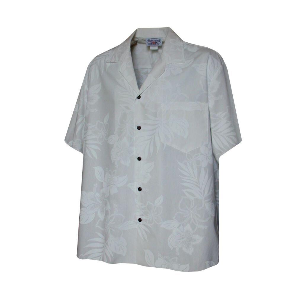 Hibiscus Shadows Boys White Hawaiian Aloha Shirt