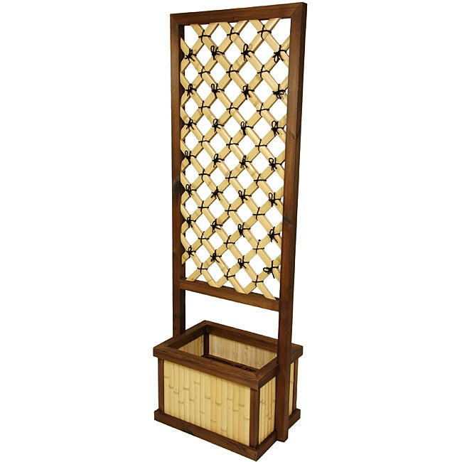 Japanese-Style Bamboo 6-foot Trellis with Planter (China)