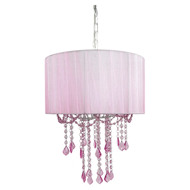Tadpoles Pink Shaded 1-light Chandelier