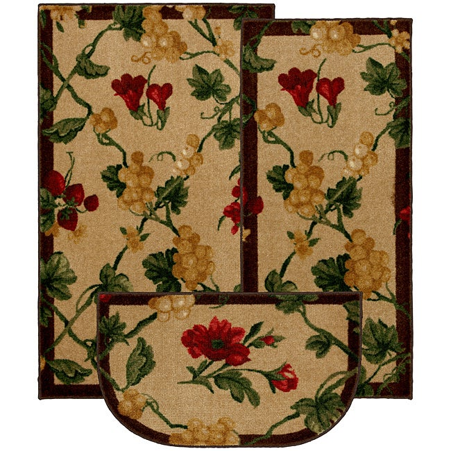 Fruit patch cherry three piece kitchen rug set 14207139 shopping great deals for Kitchen rugs with fruit design