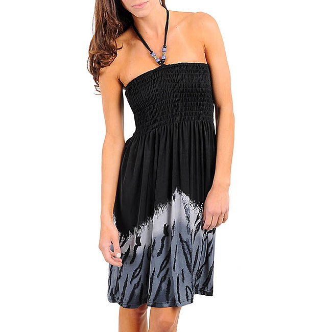 Stanzino Women's Black/ Grey Beaded Halter Dress