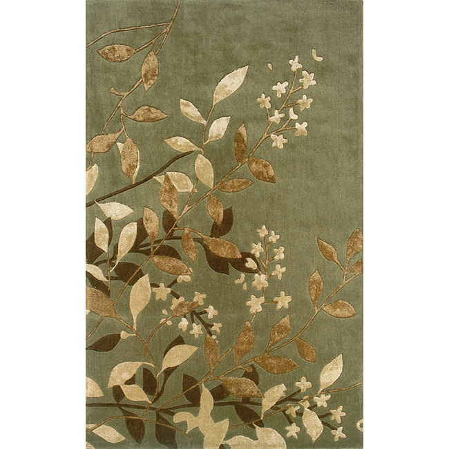 Monrovia Green/ Tan Transitional Area Rug (5' x 8')