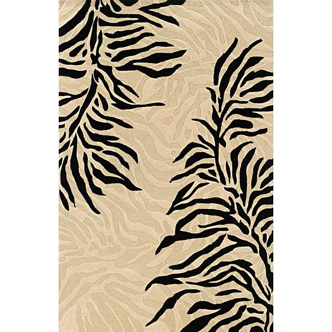 Hand-tufted Monrovia Beige/ Black Area Rug (8' x 10')