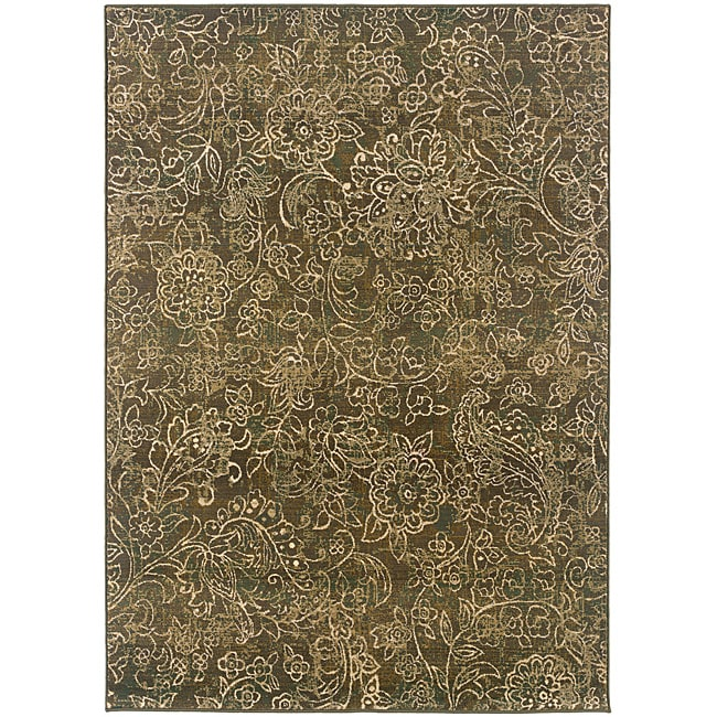 "Sydney Brown/Beige Transitional Floral Area Rug (9'9"" x 12'2"")"