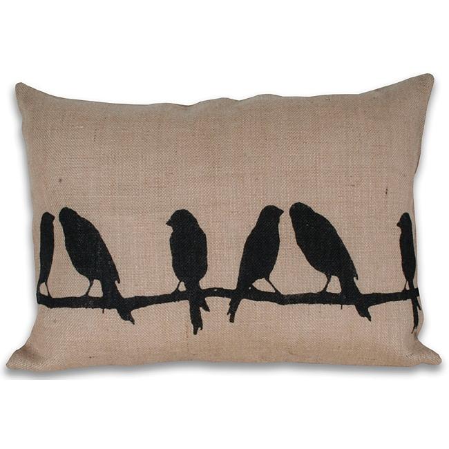 Thro Birds On Branch Printed Jute Pillow (16 x 22)