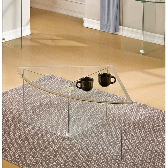 Glassix Pie Slice Glass Coffee Table