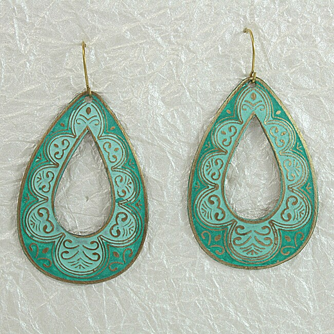 Handcrafted Green 'RainDrop' Earrings (India)