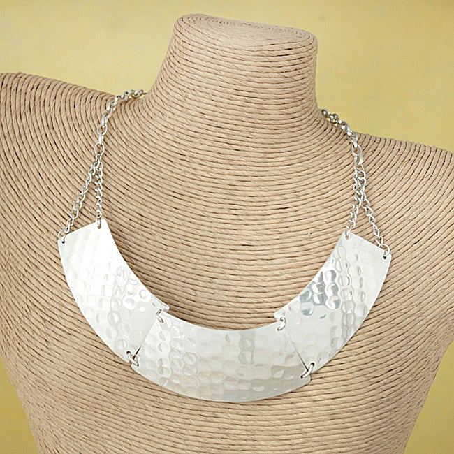 Hammered Silver Bib 'Solace' Necklace (India)